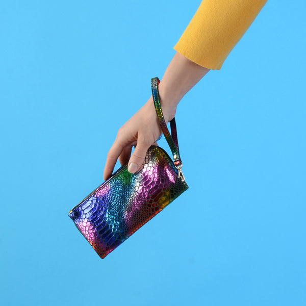 Rainbow Faux Snake Skin Wrist Purse
