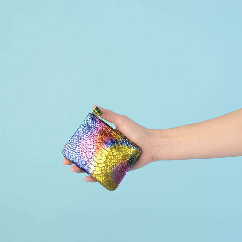 Rainbow Faux Snake Skin Credit Card Pouch
