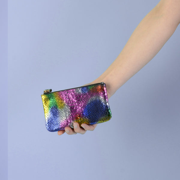 Rainbow Faux Snake Skin Medium Pouch