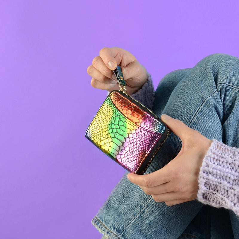 Rainbow Faux Snake Skin Purse