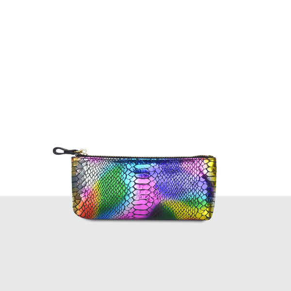 Rainbow Faux Snake Skin Make Up Pouch