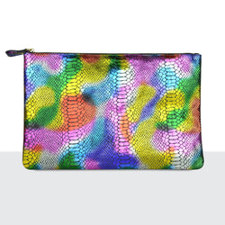 Rainbow Faux Snake Skin Laptop Pouch