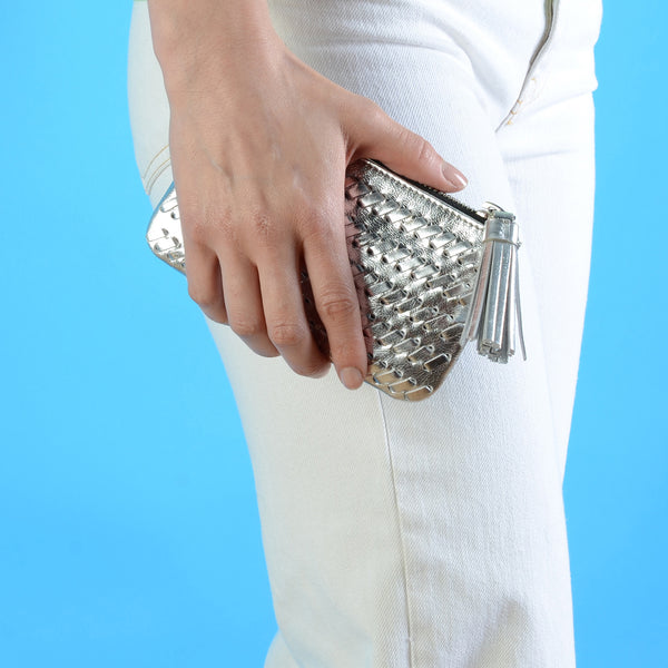 Silver Weave Medium Pouch