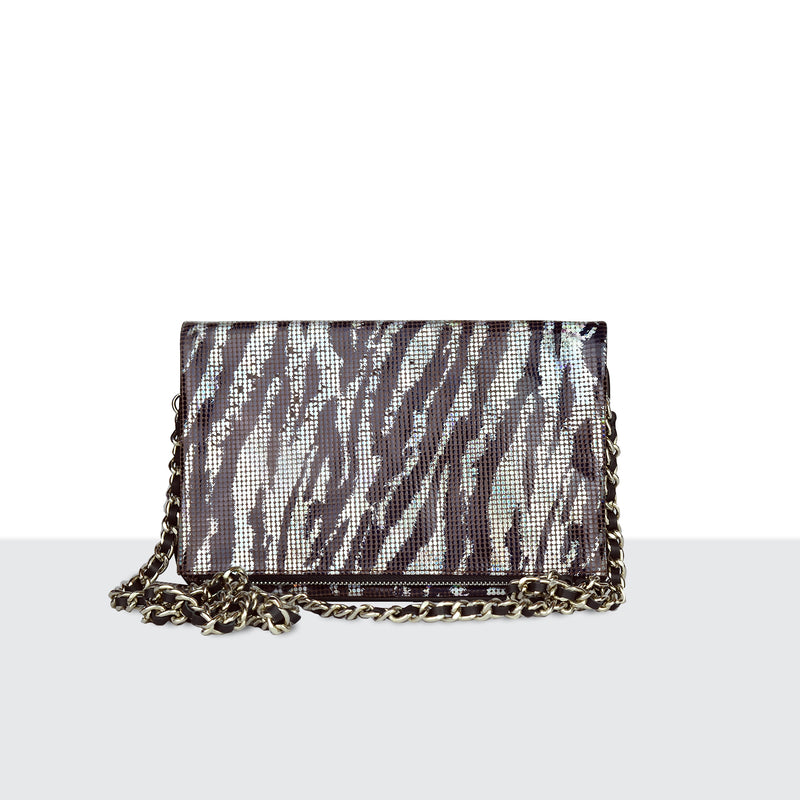 Zebra Disco Fold Over Shoulder Bag
