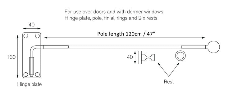 portiere rod dimensions size
