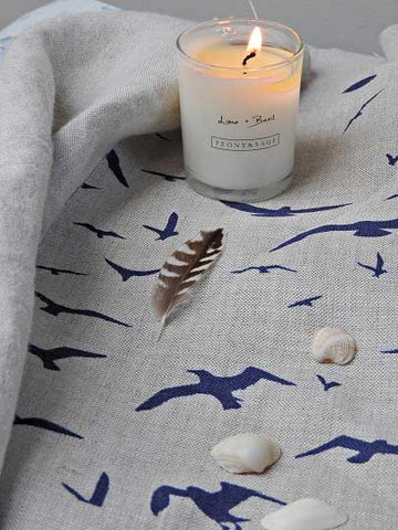 seagulls fabric by Peony and Sage for nautical curtains