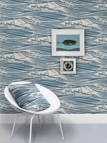 whitby wallpaper washed denim from mini moderns