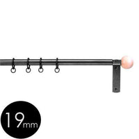 19mm wrought iron curtain pole with wooden ball finials