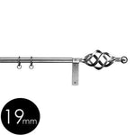 19mm wrought iron curtain pole with cage finials