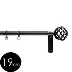 19mm wrought iron curtain pole with short basket finials
