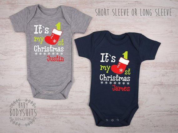 IT`S MY FIRST CHRISTMAS Personalized Bodysuits