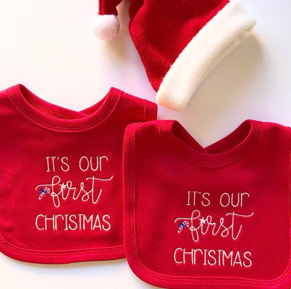It's Our First Christmas' Red Christmas Bib Set for Twins
