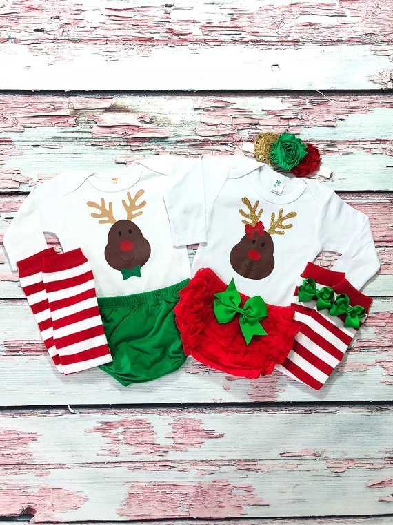 Twin Reindeers Christmas Outfits for Twins