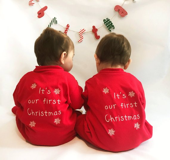 Personalised Twins 'It's Our First Christmas' Embroidered Baby Sleep Suit Set