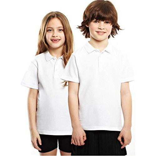 Age 3-16 White 100% Cotton School Plain Polo Shirt Short Sleeve Childrens Boys Girls P.E.