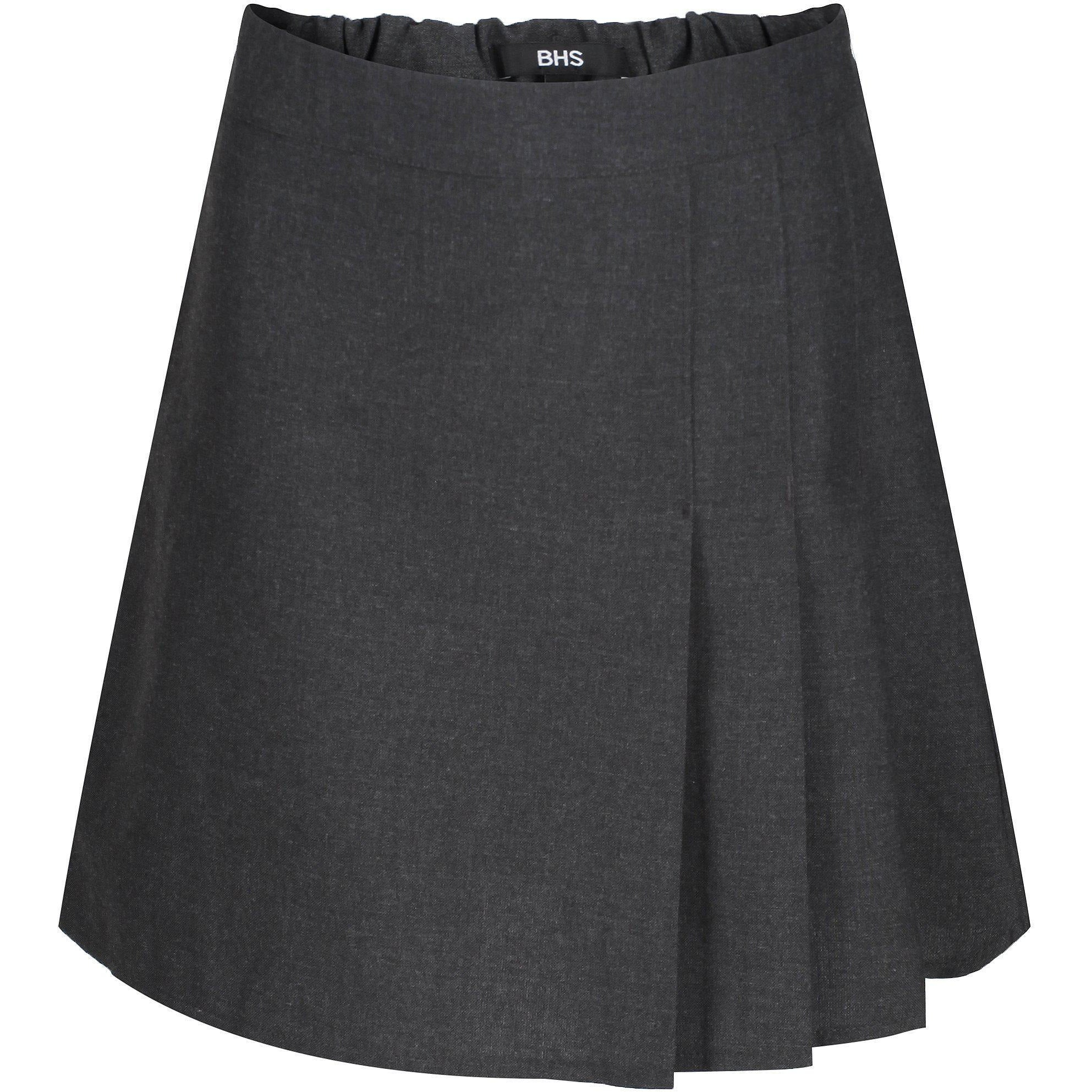 Ages 4-13 Girls School Skirt Adjustable Waist Black Grey Pleated