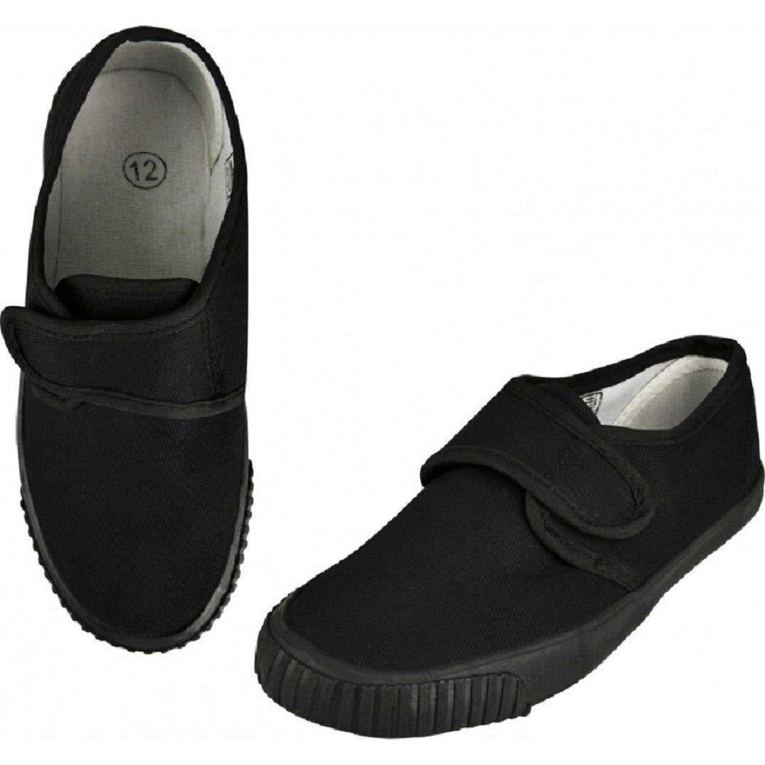 Boys Girls PE Pumps Gym Black Trainers School Unisex Plimsolls Plain Plimsoles
