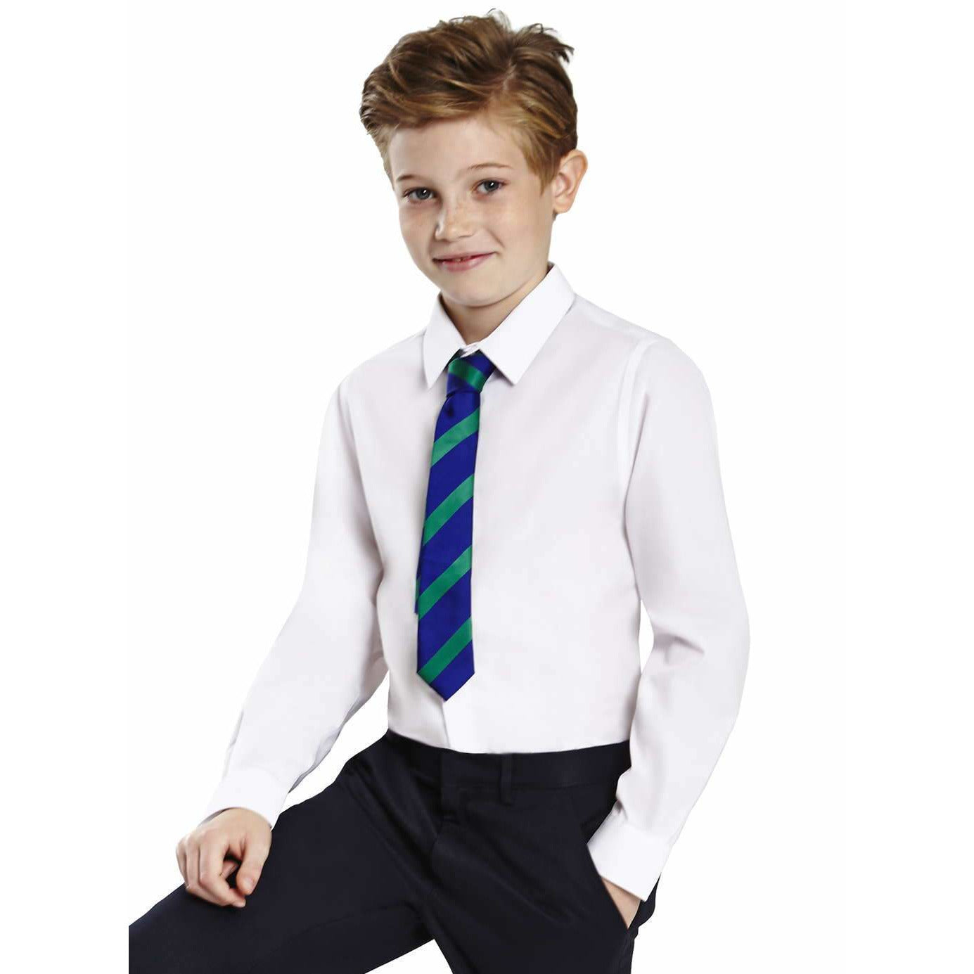 Boys School Shirt Long Sleeve Non Iron Easy Care Ages 2-16 Regular Fit