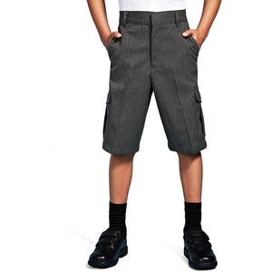 Boys Smart School Uniform Cargo Shorts Age 2-16 Years Black Grey - Adjustable Waist