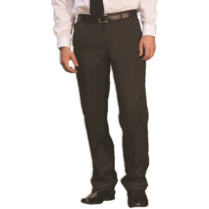 Boys Sturdy Fit School Trousers Plus Fit Elasticated Waist (Ages 7-16) XS - 3XL Generous Fit Wider Waist Shorter Leg - Black Grey