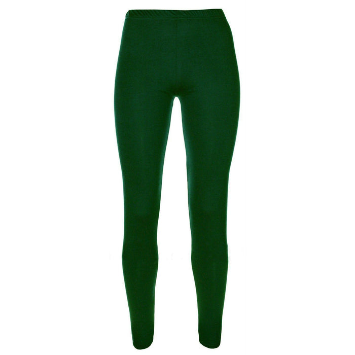 Girls Kids Leggings Plain Full Length Dance Stretch Child Teens 2 3 4 5 6 7 8 9 10 11 12 13 Years Forest Green