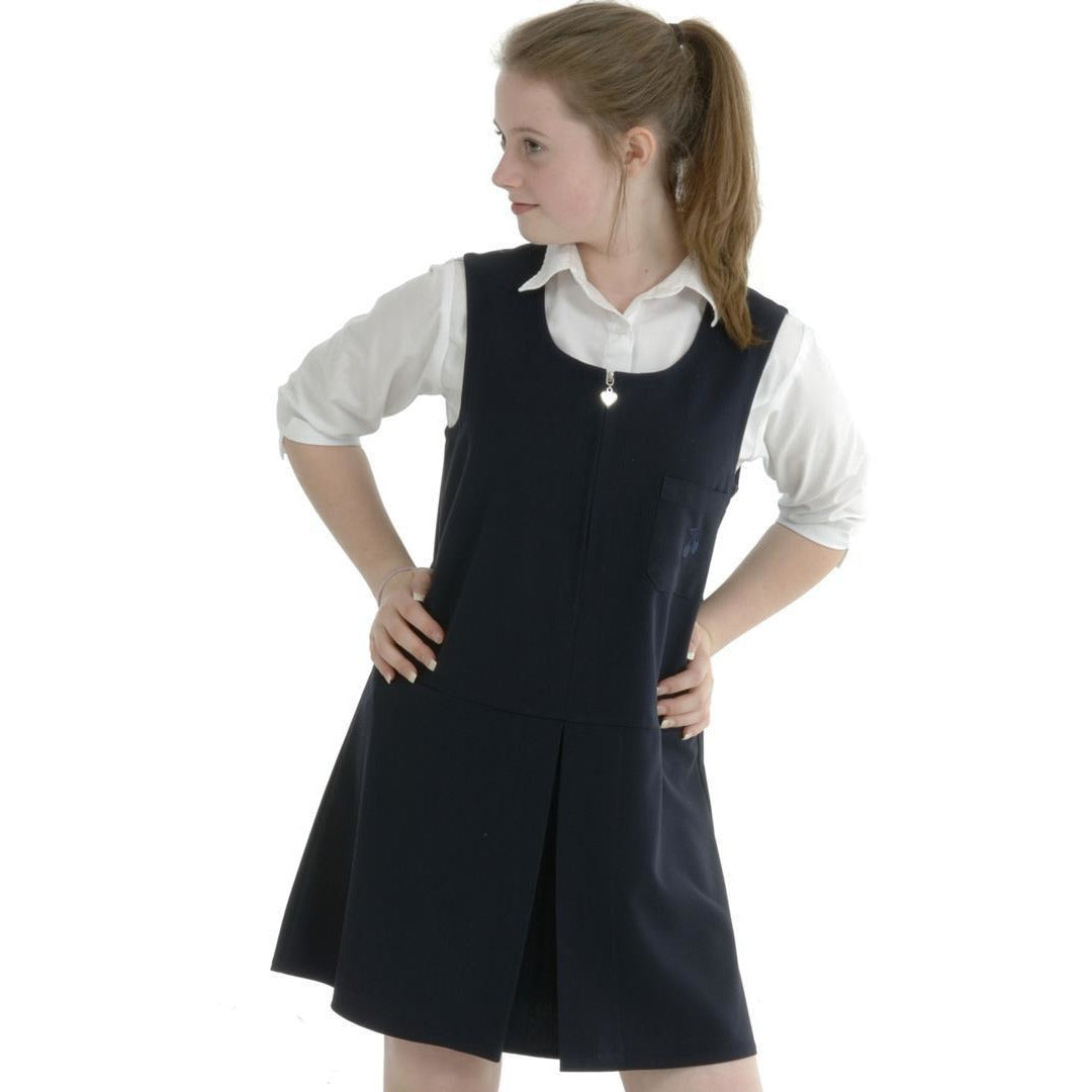 Girls School Pinafore Tunic Single Front Pleat Heart Zip School Uniform 7 Colours