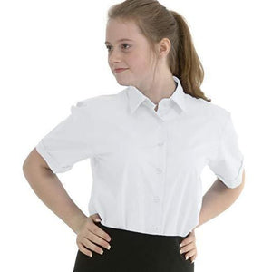 Girls School Shirt Blouse (Twin-Pack) Short Sleeved Non Iron Easy Care Ages 4-16 Regular Fit