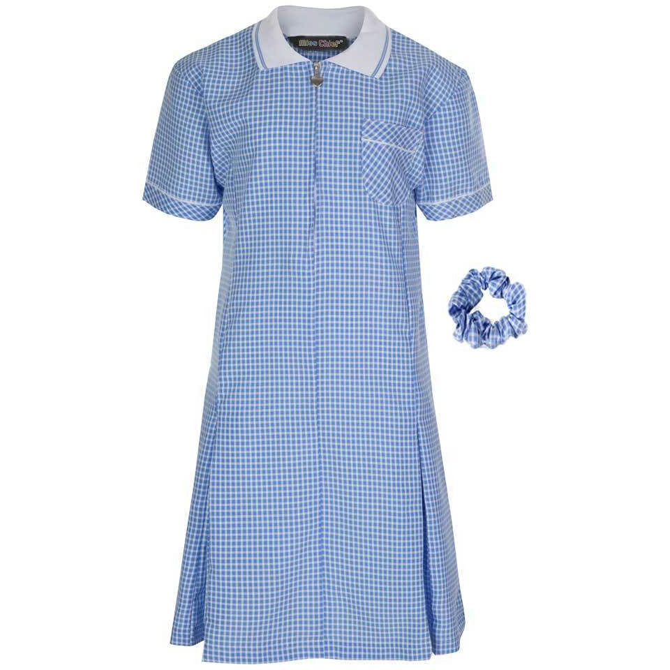 Miss Chief Girl's School Gingham Summer Dress Age 3 4 5 6 7 8 9 10 11 12 13 14 15 16 17 18 20 Pleated