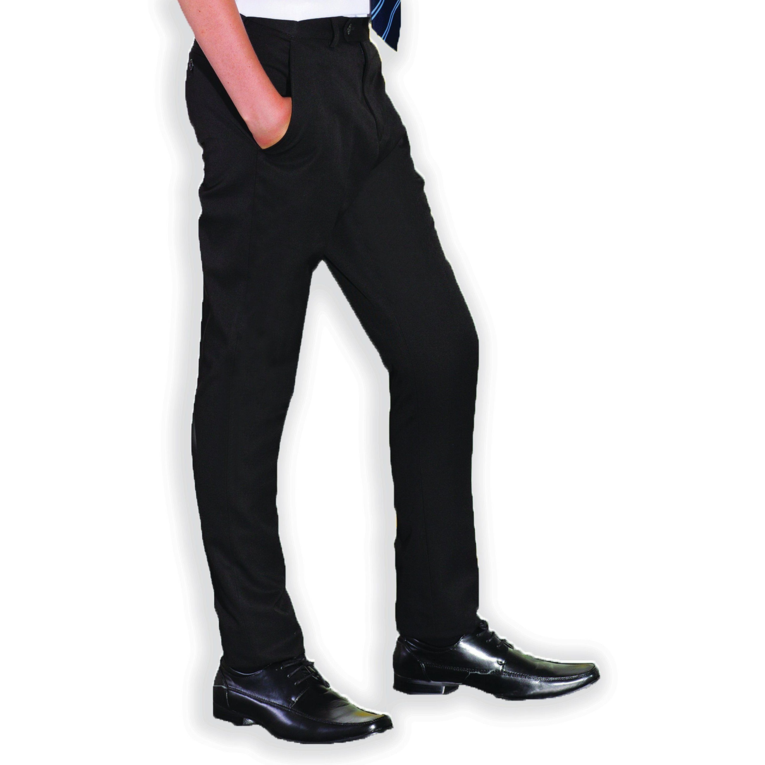 Senior Boys Slim Fit Black Charcoal Grey Navy Slim Leg Adjustable Waist School Trousers (Short Regular and Long Leg)