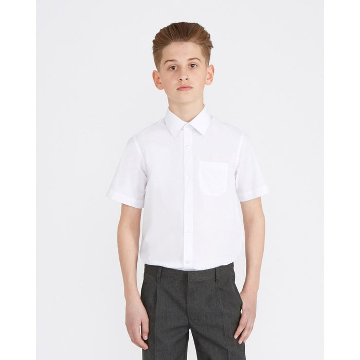 Slim Fit TWINPACK Boys School Shirt Short Sleeve Non Iron Easy Care Ages 3-16