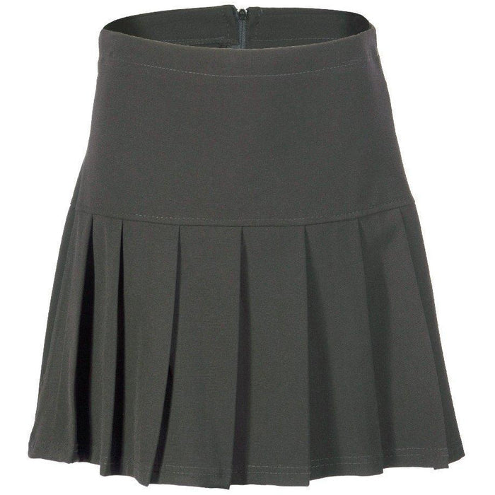 (UK 6-24) Girls Ladies School Drop Waisted Pleated Skirt Formal in Black Grey & Navy