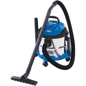 Draper  15L Wet and Dry Vacuum Cleaner with Stainless Steel Tank