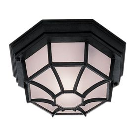 DIE CAST ALUMINIUM BLACK IP44 HEXAGONAL FLUSH OUTDOOR WITH WHITE SANDED GLASS