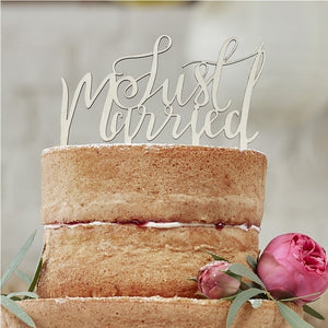 "Wooden ""Just Married"" Cake Decoration"