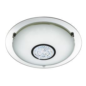 CHROME 24 LED FLUSH LIGHT WITH WHITE GLASS SHADE & CRYSTAL INNER DECORATION