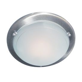 SATIN SILVER FLUSH LIGHT FITTING WITH WHITE & CLEAR GLASS DIFFUSER