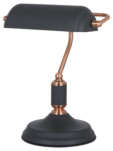 Sand Black And Copper Bankers Lamp