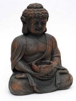 Roman Resin Buddha With Candle Weather Proof