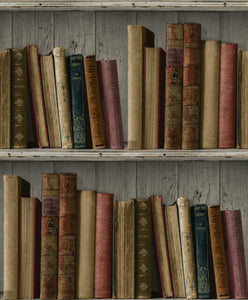 Non-Woven Wallpaper vintage books colourful GranDeco Facade