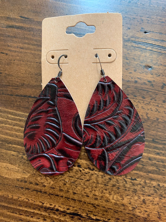 Black Cherry Tooled Leather Earrings