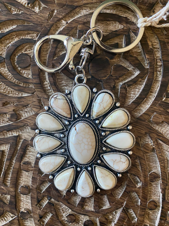 Natural Turquoise Bloom Keychain
