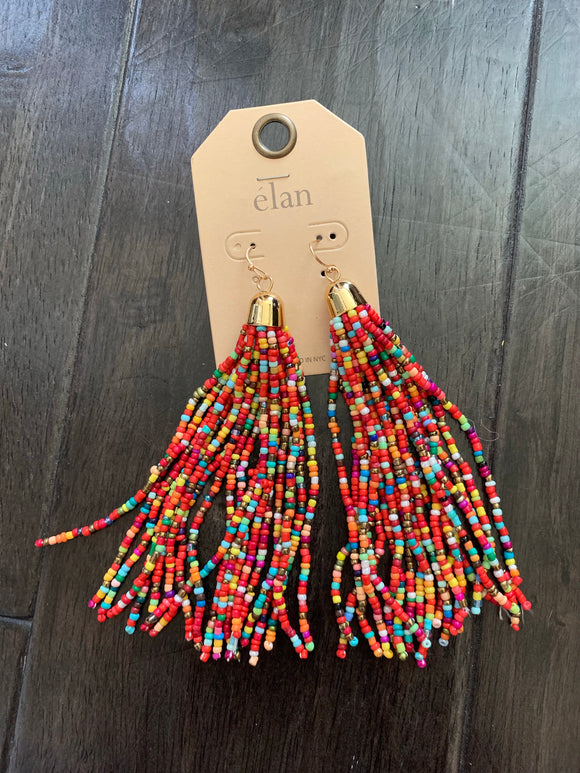 Multi Seed Bead Tassel Earrings
