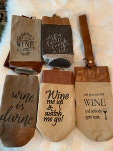 Canvas & Leather Wine Tote