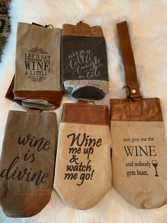 Canvas & Leather Wine Tote SALE