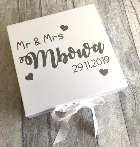 Personalised Mr & Mrs Surname Wedding Memory / Keepsake Gift Box