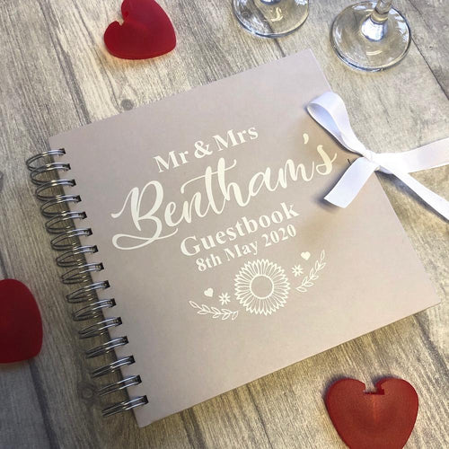 Personalised Wedding Engagement Guest Book Flower Design