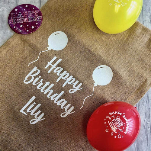 Personalised Happy Birthday Balloons Large Present Sack