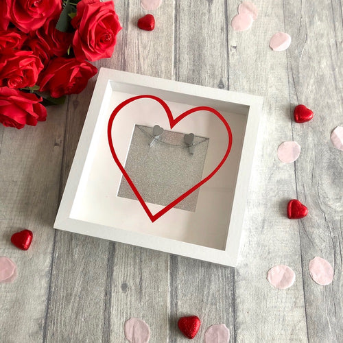 Valentine's Heart Couple Anniversary photo box frame with silver heart wooden pegs