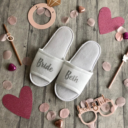 Personalised Bridal Party Wedding Day Slippers