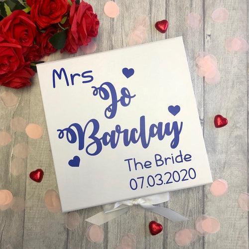 Personalised Mrs Bride Wedding Memory / Keepsake Gift Box